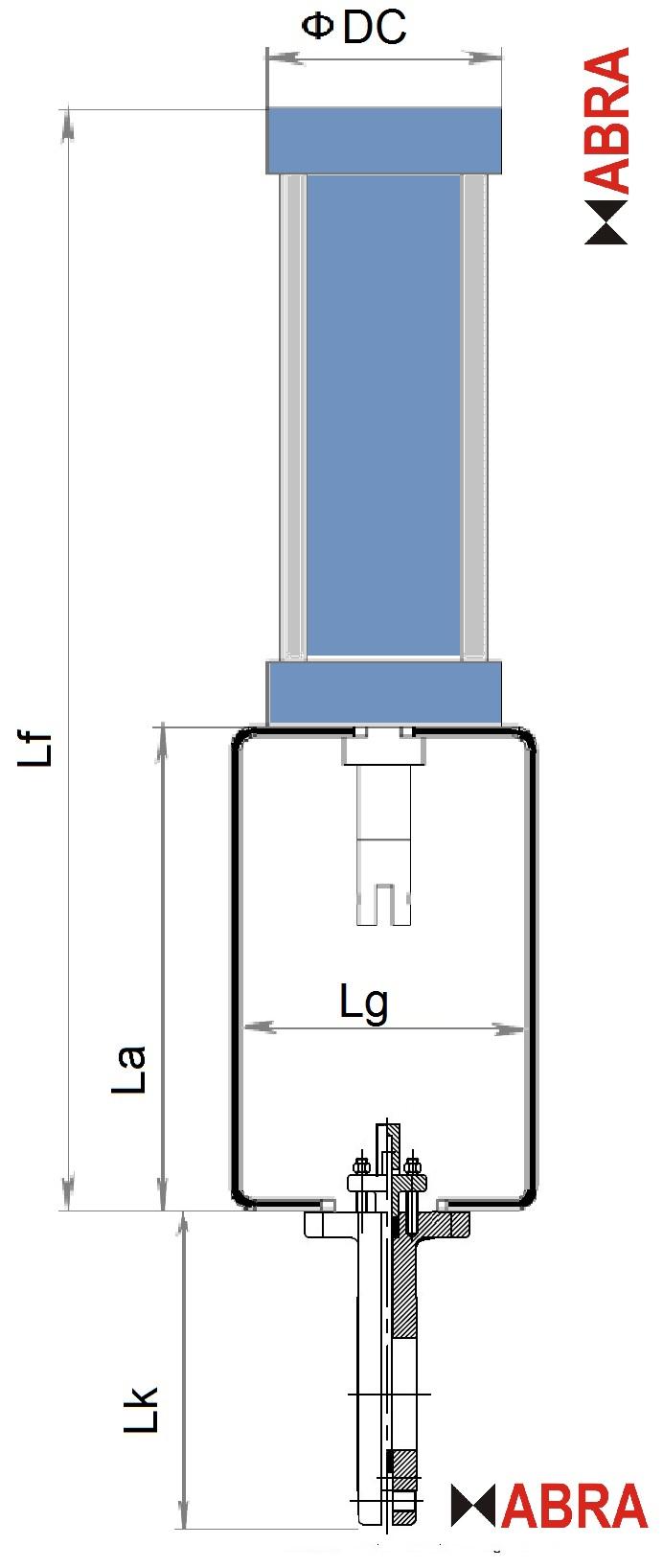 """Габаритные размеры. Задвижки шиберные (затворы ножевые) ABRA-KV с пневмоприводом (с пневмоцилиндром) двусторонние PN10 и PN16, DN050-600, GGG40/SS304/EPDM(NBR). Строительная длина EN558-1 GR (серия) 20 = ISO 5752 """"short"""" = EN558 S20 = DIN 3202 T3 K1 = ISO 5752 Series 20 = API 609 Table 1 = EN 593"""