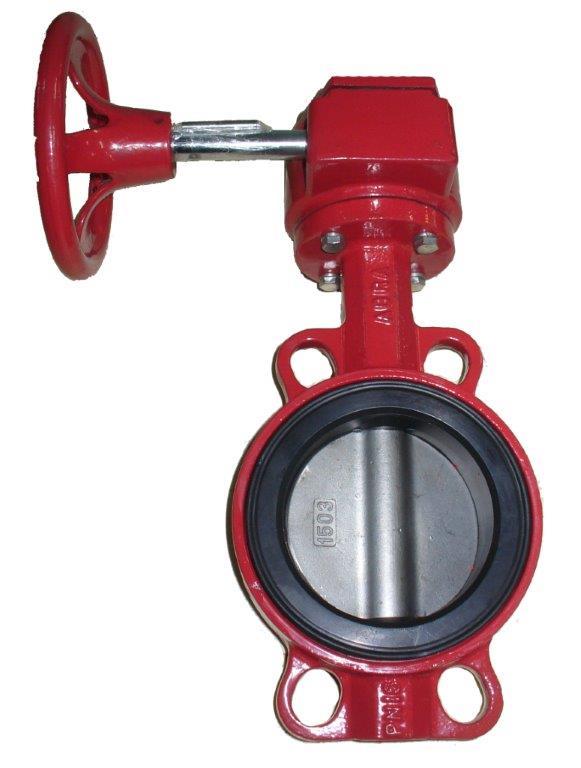 Затвор дисковый поворотный, диск из нержавеющей стали, с редуктором