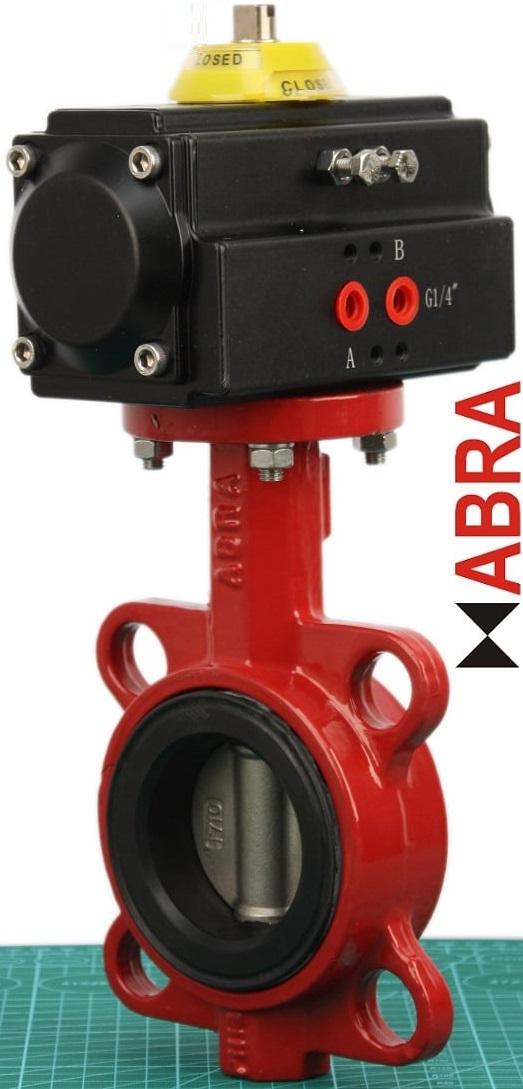 Затворы поворотные ABRA-BUV с пневмоприводом поворотным на 6 бар. Кран шаровой ABRA BUV с пневмоприводами на пневмосистемы с давлением от 6 бар