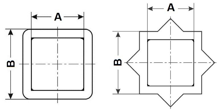 Переходники адаптеры для уменьшения и увеличения посадочных квадратов и звездочек приводов, присоединяемых к трубопроводной арматуре. Квадрат-квадрат и квадрат-звезда.