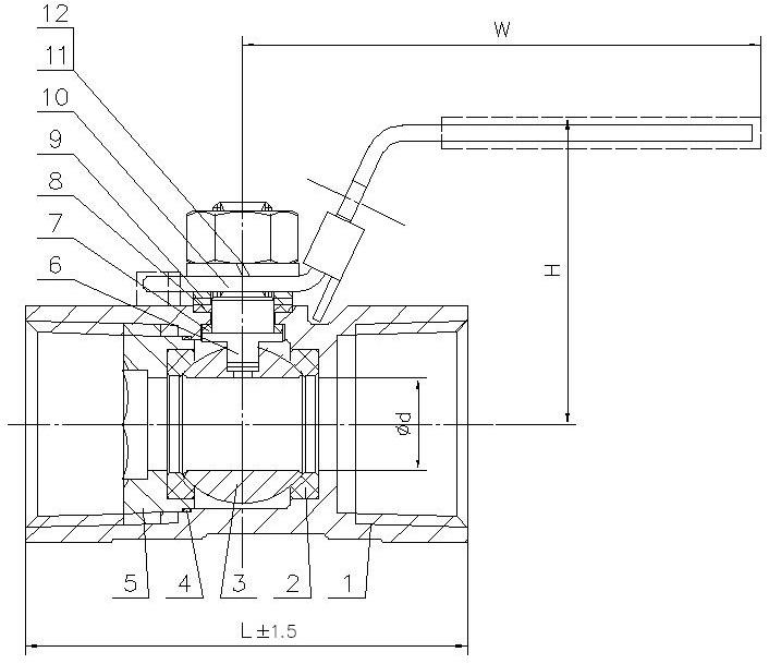Чертеж габаритный шарового крана ABRA-BV-A1400A
