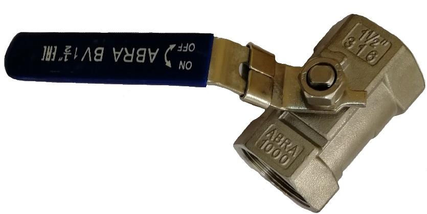 Шаровой кран из нержавеющей стали AISI316 (CF8M) Ду 8-050 (1/4 - 2), Ру40 внутренняя резьба/внутренняя резьба. Код серии ABRA-BV-A1400A