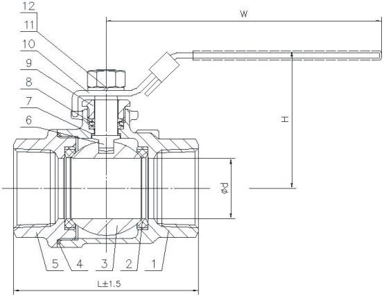 Чертеж габаритный полнопроходного шарового крана ABRA-BV-027A