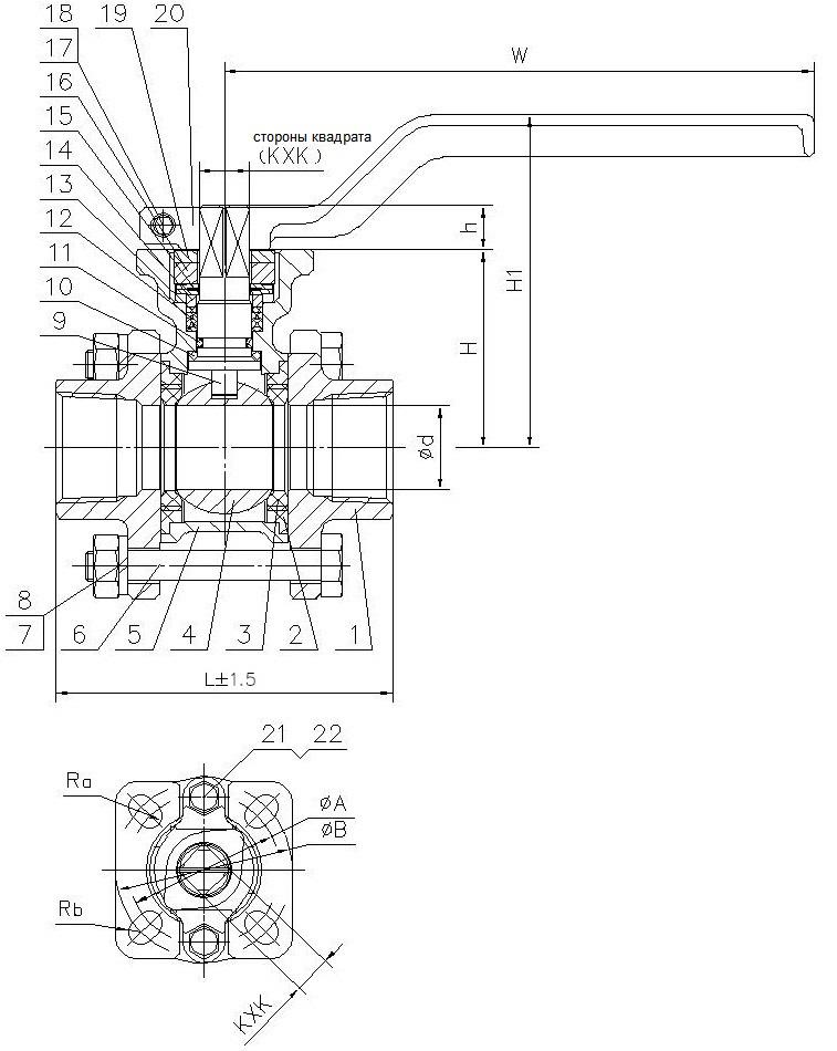 Шаровой кран полнопроходный  из нержавеющей стали резьба/резьба с ISO фланцем под установку привода AISI316 (CF8M)  ABRA