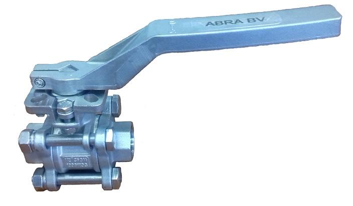 Шаровые краны полнопроходные нержавеющие из стали AISI316 (CF8M) Ду 15-100 Ру40 резьба/резьба стандартные патрубки Тип ABRA-BV11 c ISO верхним фланцем