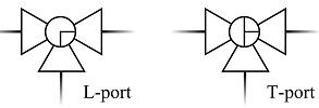 Условное графическое изображение трехходового шарового крана. Компания АБРАДОКС.