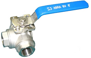 Шаровые краны трехходовые нержавеющие из стали AISI316 (CF8M) Ду 8-50 Ру40 резьба/резьба Тип ABRA-BV15 с рукояткой, T-порт и L- порт