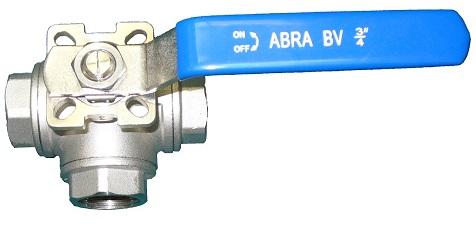 Шаровые краны трехходовые нержавеющие из стали AISI316 (CF8M) Ду 8-50 Ру40 резьба/резьба Тип ABRA-BV15 T-порт c ISO верхним фланцем, с рукояткой - внешний вид