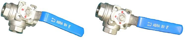 Шаровые краны трехходовые нержавеющие из стали AISI316 (CF8M) Ду 8-50 Ру40 резьба/резьба Тип ABRA-BV15 L-порт и T-порт c ISO верхним фланцем, с рукояткой - внешний вид