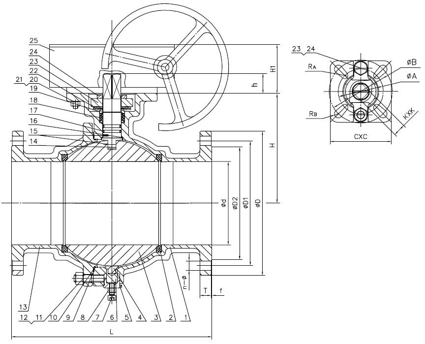 Шаровой кран полнопроходный  из нержавеющей стали фланец/фланец с рукояткой и ISO фланцем под установку привода AISI316 (CF8M)  ABRA (фланцевый нержавеющий шаровой кран)