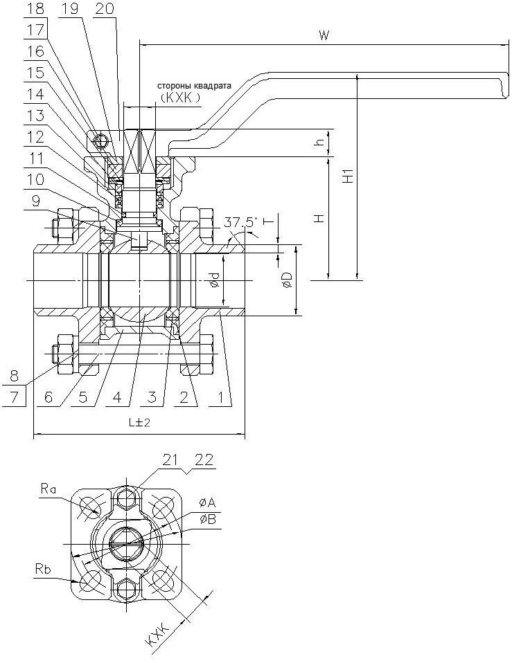 Шаровой кран полнопроходный из нержавеющей стали сварка/сварка с ISO фланцем под установку привода AISI316 (CF8M)  ABRA