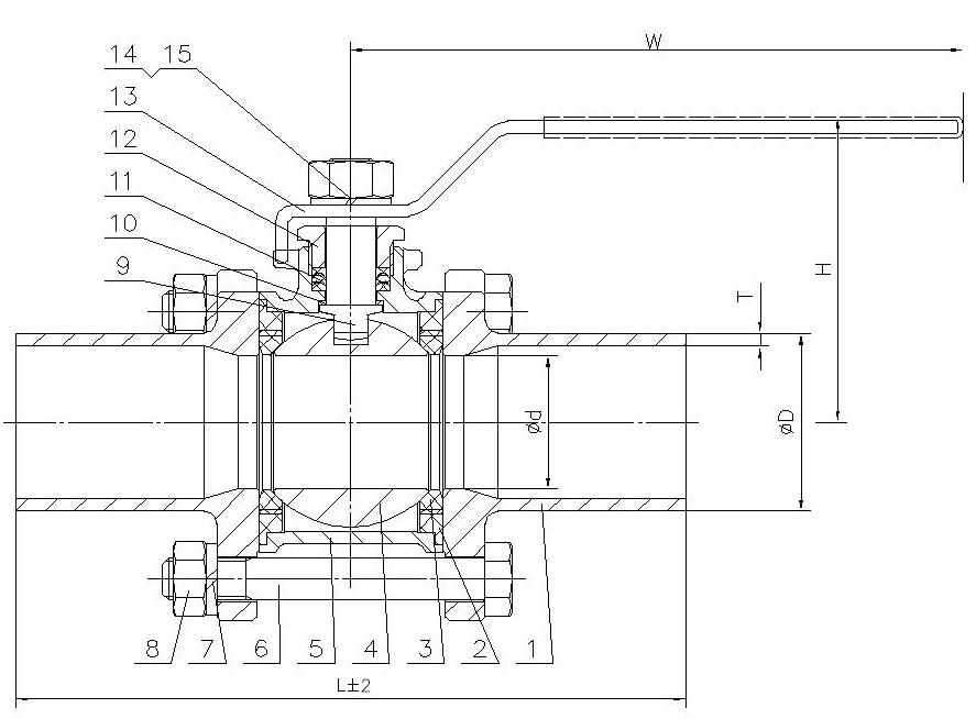 Шаровой кран полнопроходный  из нержавеющей стали сварка/сварка с рукояткой AISI316 (CF8M)  ABRA длинные патрубки