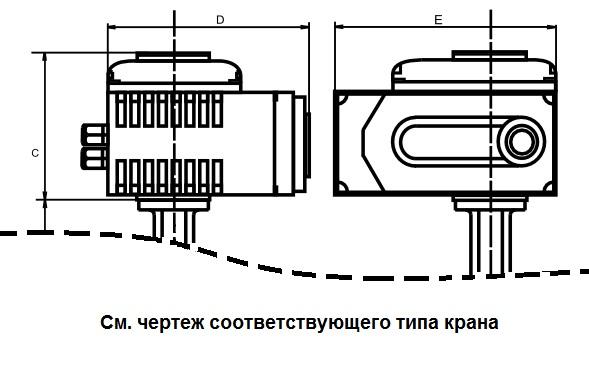Чертеж габаритный привода. Кран шаровой полнопроходной нержавеющий из стали AISI316 (CF8M) с электроприводом 1х220В ПК Сатурн
