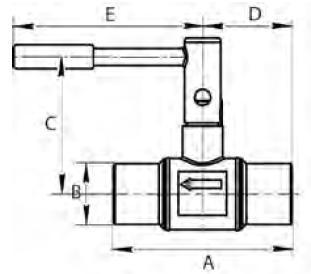 BALLOREX Venturi DRV Ду 065-150 Ру16 балансировочные клапаны под приварку. Габаритные размеры, строительные длины, веса и Kv.