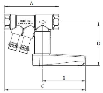 Балансировочный клапан Броен. BALLOREX Venturi DRV Ду 015-050 Ру25 резьбовые балансировочные клапаны. Габаритные размеры, строительные длины, веса и Kv