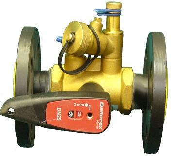 Балансировочный клапан Ballorex (Баллорекс) V c измерительными ниппелями и дренажом Ду15-50 с рукояткой присоединение фланец / фланец на Ру16
