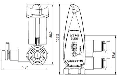 BALLOREX V Ду 15 Ру25 Баллорекс V балансировочные клапаны Броен. Габаритные размеры, строительные длины, веса и Kv.