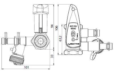 BALLOREX V Ду 20 Ру25  Баллорекс V балансировочные клапаны Броен. Габаритные размеры, строительные длины, веса и Kv.