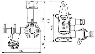 BALLOREX V Ду 25 Ру25  Баллорекс V балансировочные клапаны Броен. Габаритные размеры, строительные длины, веса и Kv.