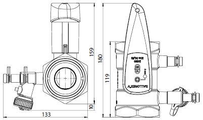 BALLOREX V Ду 50 Ру25  Баллорекс V балансировочные клапаны Броен. Габаритные размеры, строительные длины, веса и Kv.