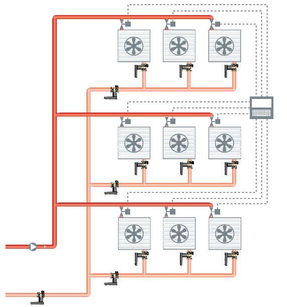 Применение балансировочных клапанов в системах вентиляции, отопления с применением 2-х ходовых регулирующих клапанов (системы  с устройствами активного регулирования)  Клапаны Ballorex V, Баллорекс V.
