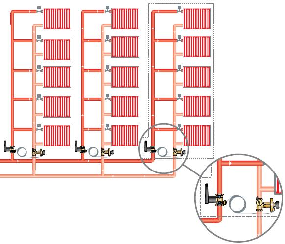 Применение балансировочных клапанов в системах отопления в паре с динамическим балансировочным клапаном в качестве регулятора перепада давления. Клапаны Ballorex V, Баллорекс V.