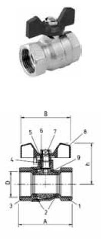 Шаровой кран латунный полнопроходный BROEN рукоятка бабочка, мама/мама
