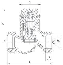 Обратный клапан чугунный седельчатый резьбовой (муфтовый). Код серии V277.