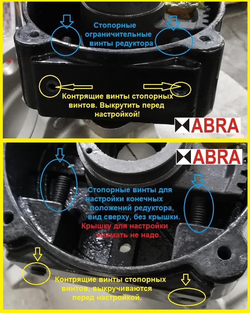 Настраиваемый ход редуктора четвертьоборотного ABRA.  Стопорные винты и контрящие винты.