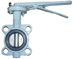 Затвор поворотный дисковый чугунный ABRA с рукояткой. Поворотный затвор с уплотнением NBR и диском из нержавейки. Затвор с рукояткой.