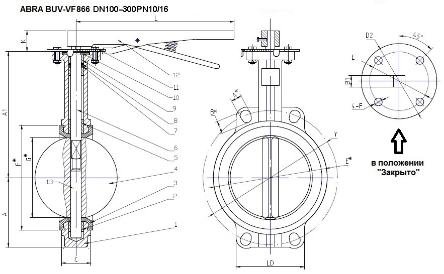 Затвор поворотный дисковый чугунный с рукояткой. Поворотный затвор под установку редуктора или привода.
