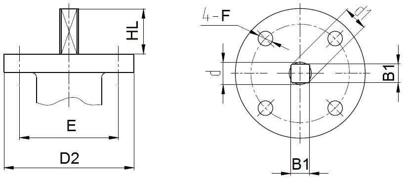 Присоединительные размеры под привод для затворов ABRA Ду32-300