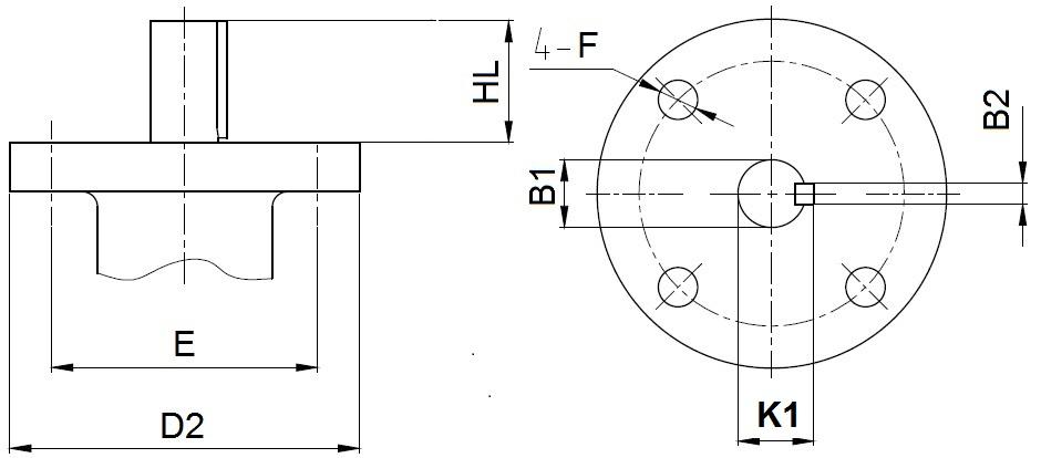 Присоединительные размеры под привод для затворов ABRA Ду350-600