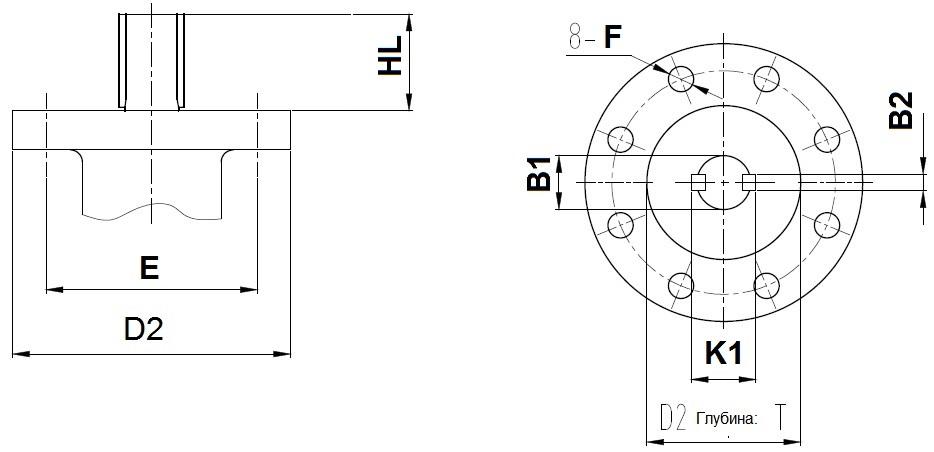 Присоединительные размеры под привод для затворов ABRA Ду700-1200
