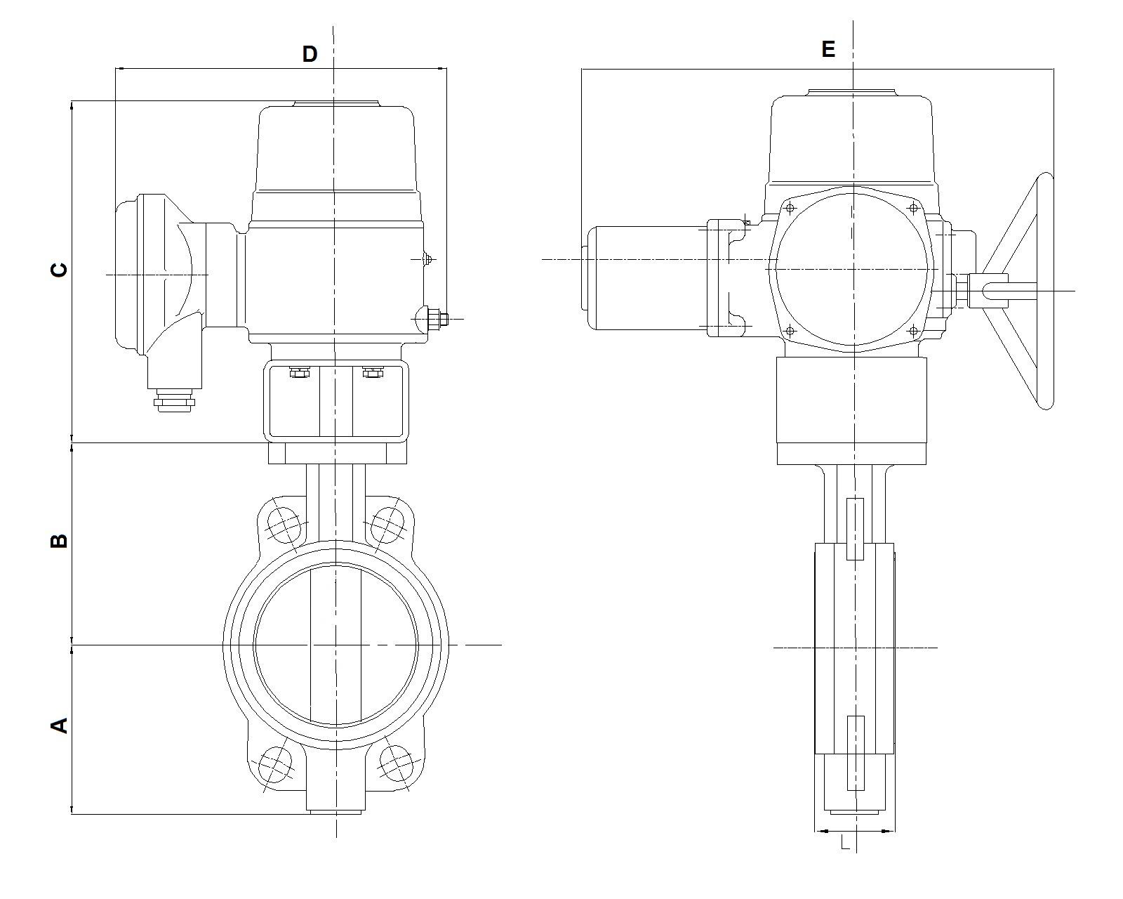 Чертеж габаритный. Затвор дисковый с электроприводом 3х380В. Затвор поворотный 3х380В. ABRA BUV-VFхххDхххEAGZ с электроприводом ГЗ ОФ Электропривод 3х380В