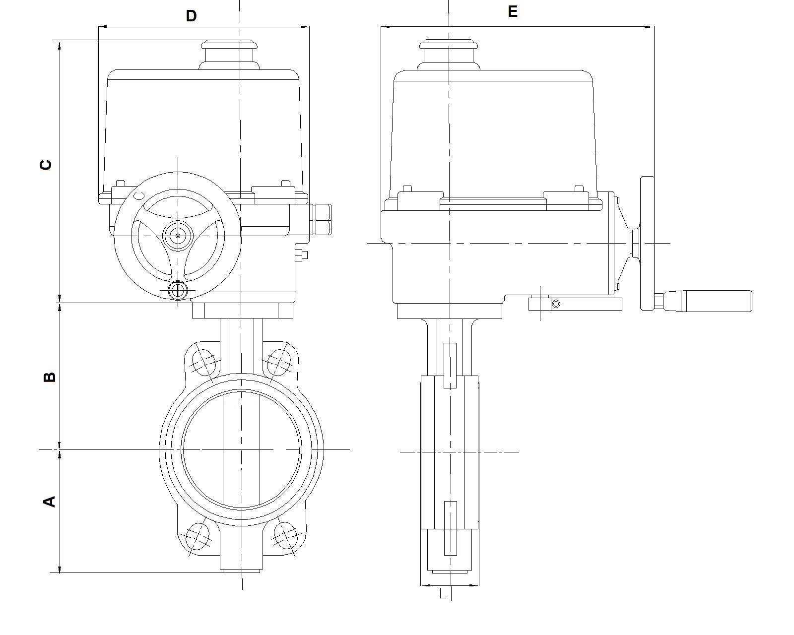 Чертеж габаритный. Затвор дисковый с электроприводом 3х380В. Затвор поворотный 3х380В. ABRA BUV-VFхххDхххEAGZ с электроприводом ГЗ ОФК и ГЗ ОФМ Электропривод 3х380В