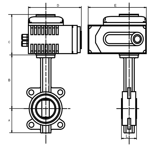 Чертеж габаритный. Затвор дисковый с электроприводом 1х220В. Затвор поворотный 1х220В.  ABRA BUV-VFхххDхххEASTRN с электроприводом Сатурн (исп. S1) 1х220В