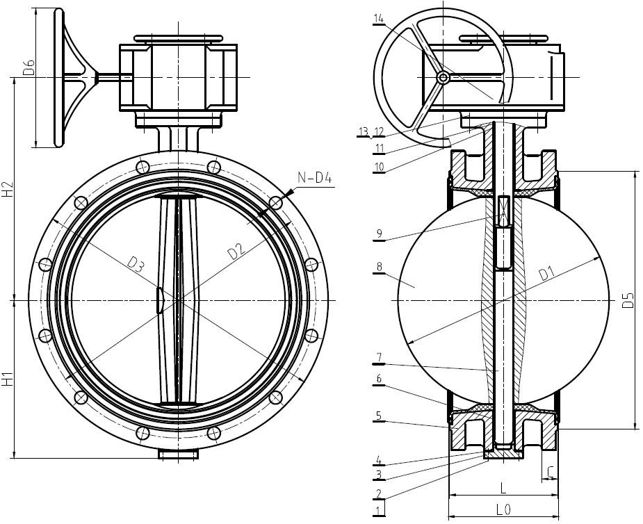 Ру10 и Ру 16 Ду50-1000 с редуктором. Затвор фланцевый поворотный дисковый. BUV-FL Серия 226/263/266.