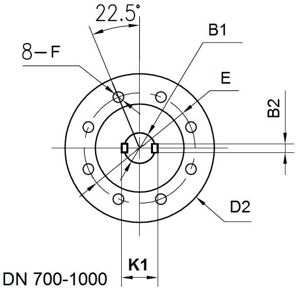 Верхний фланец фланцевого поворотного затвора DN700-DN1000 ABRA BUV