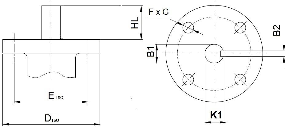 Присоединительные размеры под привод для затворов    ABRA BUV-FL Серия 226 DN350-1000