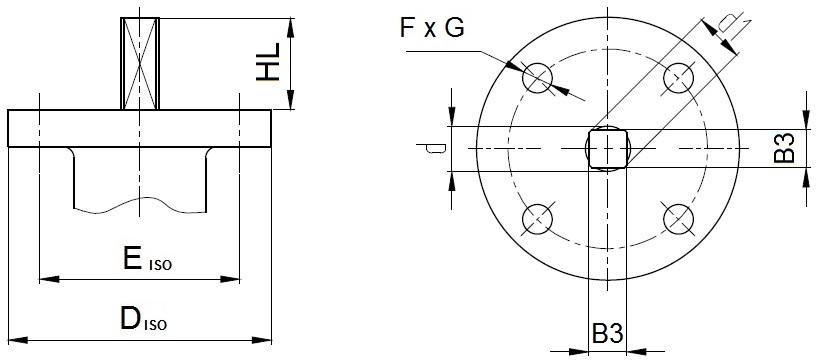 Присоединительные размеры под привод для затворов  ABRA BUV-FL Серия 226 DN50-300