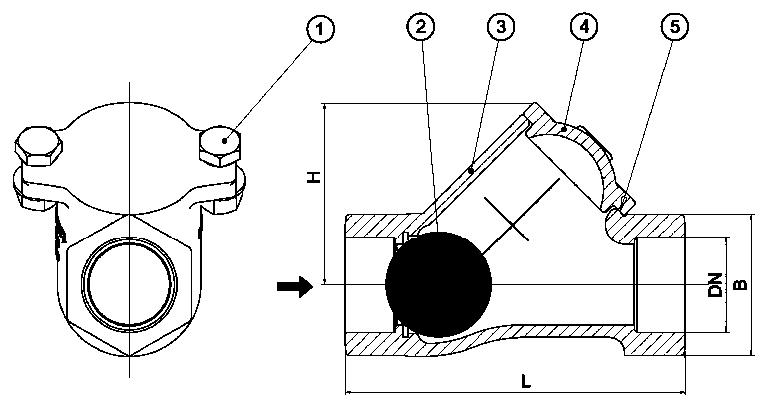 Обратный клапан шаровой