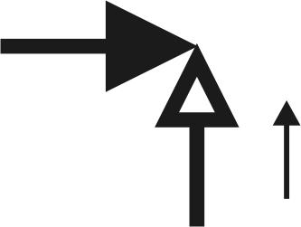 Справочно: Условное графическое обозначение обратного клапана углового на чертежах и схемах, стрелка указывает направление потока.