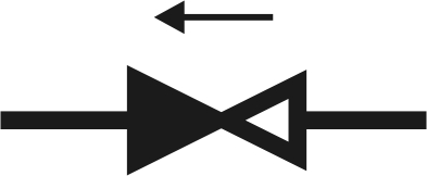 Условное графическое изображение обратного клапана на чертежах и схемах