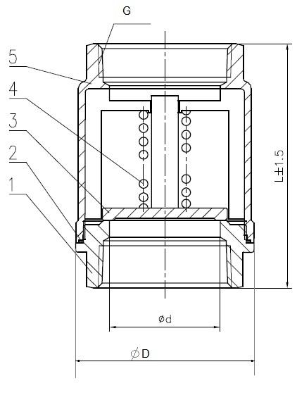 Чертеж габаритный обратного клапана резьбового ABRA-D-12