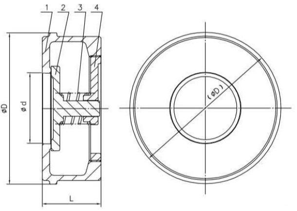 Чертеж габаритный обратного клапана тарельчатого межфланцевого ABRA-D71 нержавеющего