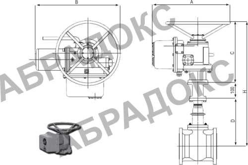 Чертеж габаритный. Клиновая задвижка ABRA с электроприводом,  с обрезиненным клином, Ду80, Ду100, Ду125, Ду150, Ду200, Ду250, Ду300, Ду350