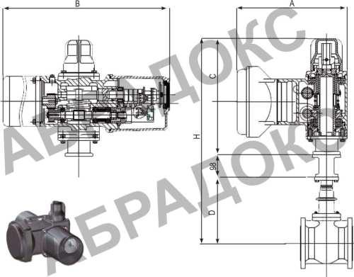 Чертеж габаритный. Клиновая задвижка ABRA с электроприводом,  с обрезиненным клином, Ду40, Ду50, Ду65
