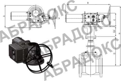 Чертеж габаритный. Клиновая задвижка ABRA с электроприводом,  с обрезиненным клином, Ду400, Ду450, Ду500, Ду600