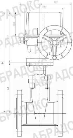Чертеж габаритный. Клиновая задвижка ABRA с электроприводом,  с обрезиненным клином, Ду40, Ду50, Ду65, Ду80